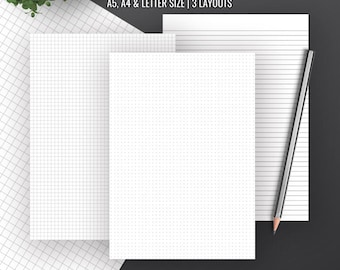 Basic Pages Inserts, Dot Grid, Square Grid, Lined Paper, A4, Letter, Printable Planner, A5 Planner Binder, Filofax A5, Instant Download
