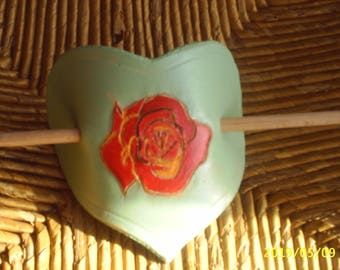 hair clip made of hand painted leather