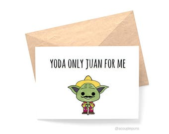 Yoda// I Love You Card, Love Card, I Love You Card, Anniversary Card, Yoda Card, Star Wars Card, Star Wars Gift