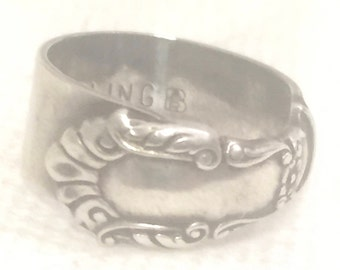 Vintage Sterling Silver Ring Spoon Butter Knife Ring Pinky  Adjustable 925 Flower Spoon