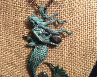 Mermaid Treasure / Pirate - Great patina copper metal focal piece on a copper chain. Looks great as a stand alone necklace.