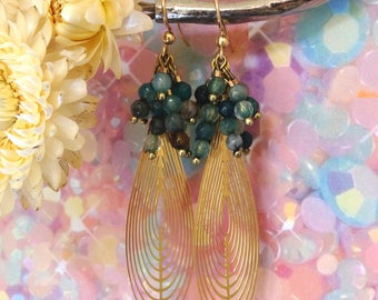 MARINETTE * earrings gold with blue beads and large Teardrop