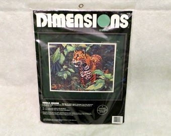 "Dimensions Jungle Jaguar Needlework Crewel Kit | Gallery Collection | New Unopened | Exotic Jaguar | Handsome Safari Cat | 16"" x 12"""