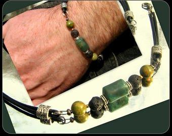 BRACELET Homme pierre VERT Jaspe Lave Unakite,bracelet homme Cuir noir, perles argent, bracelet ethnic, gemmes guérison, cadeau homme