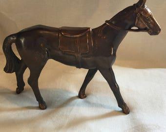 Vintage Pot Metal Horse Figurine Copper Patina / 1950's Carnival Prize