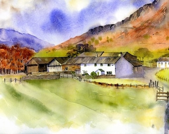 Dungeon Ghyll Farm step by step watercolour painting project
