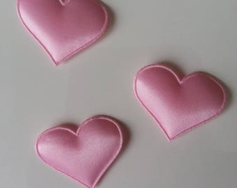 Lot de 3 appliques coeur satin rose