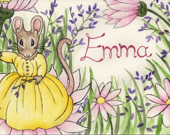 Personalised Child's Watercolour Painting - Mouse