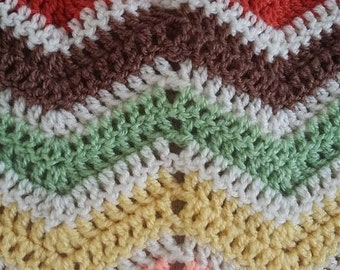 Autumnal themed chevron blanket