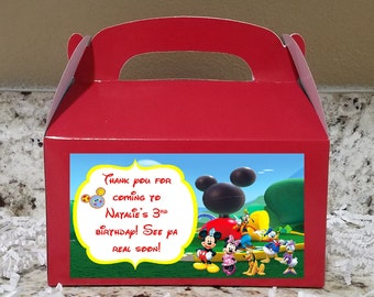 SALE! 12+ Labels Or Boxes & Labels 12 Mickey Mouse Clubhouse Treat Boxes, Mickey Mouse Gable Boxes, Mickey Candy Boxes, Mickey Party Boxes
