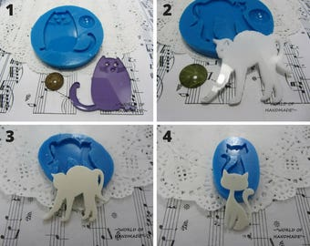 Silicone molds in the form of cats of different shapes and sizes. Molds for epoxy resin