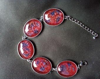 Bracelet Red Red Blue cabochon