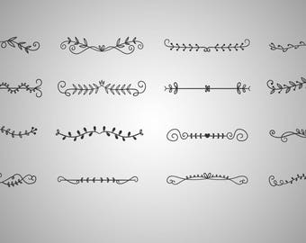 16x Text dividers SVG cut / borders / laurels / doodle / clipart / svg file / png 300 ppi / eps