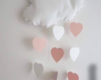 Mobile wall cloud with hearts baby room decoration