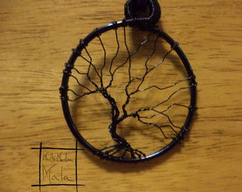 Tree of Life Black Wire pendent necklace sacred tree knowledge  energy celtic druid magic wisdom beauty protection summer fall