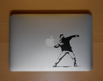 Banksy Molotov Man - Decal Sticker for Macbooks and other Laptops, Banksy, Cocktail Molotov, Protester, mac