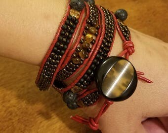 Beaded leather wrap bracelet with vintage button clasp