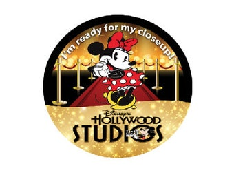 Hollywood Studios Button - Minnie Mouse Movie Star Button - Theme Park Pin - Minnie Mouse Button - Hollywood Studios Badge - Theme Park Pin