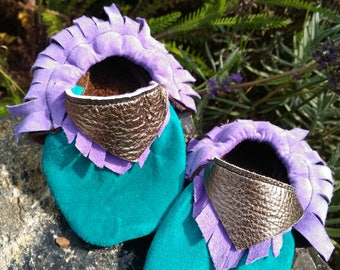 Teal - Lavender - Silver Baby Shoes