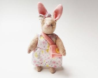 Mini Lady Rabbit Soft Toy / Lady Bunny Articulated Doll / Handmade Plushie / Stuffed Animal
