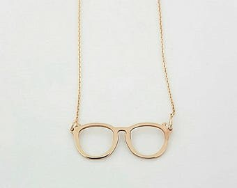 Glasses Necklace, Rose Gold Necklace For Women, Gold, Silver, Rose Gold Necklace, Christmas Gift Idea, Necklace For Girlfriend, Gift For Her
