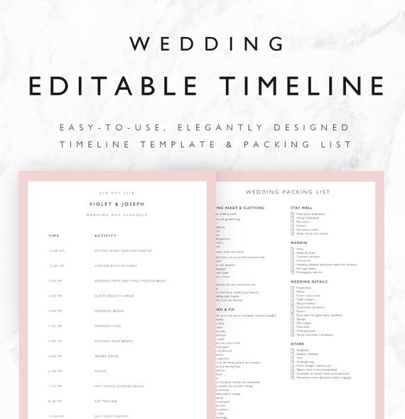 wedding timeline template minimal bridal wedding day