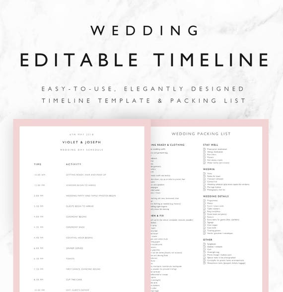Violet wedding timeline template minimal bridal wedding day violet wedding timeline template minimal bridal wedding day schedule plus packing list printable editable word excel doc pdf pronofoot35fo Images
