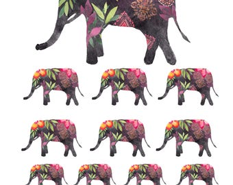 Bohemian Elephant Sticker Kit
