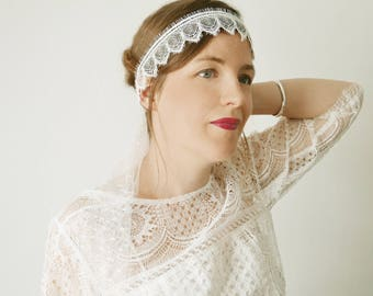 Geometric lace Wedding Veil headband