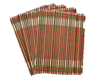 Bamboo placemats for kitchen dining table set of 4, Checkered red & green, size 12.5 X 17 inches