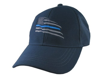 American Thin Blue Line Wavy US Flag Embroidery on an Adjustable Navy Blue Structured Adjustable Classic Trucker Style Mesh Cap