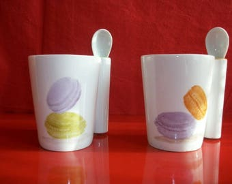 """Mug and spoon in Limoges porcelain """"Colorful macaroons""""."""