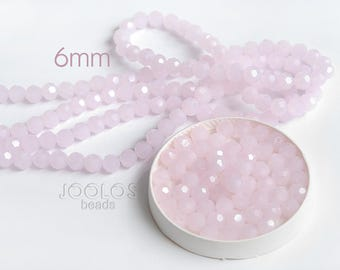 Rose quartz czech glass beads 6mm Pink beads Beads for jewelry Faceted czech glass beads Czech crystal / 20 beads About 10-12 cm