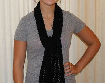 Black hand knitted scarf