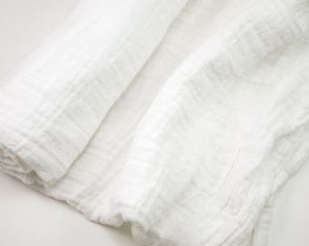 "Muslin Swaddle Blanket in solid white - made from 100% cotton double gauze - generously sized 45"" square - baby blanket, baby gift"