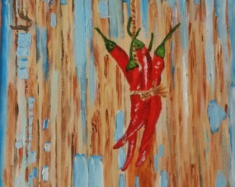 Original RED HOT PEPPER-Mirchi painting, mixed media, acrylics painting, Indian belief, canvas painting, vibrant colors, contemporary art,