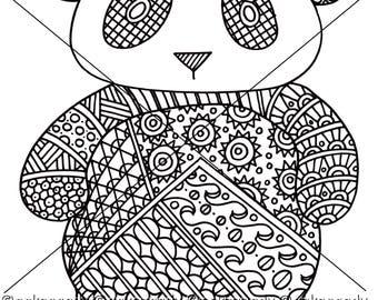Panda Zentangle Coloring Page