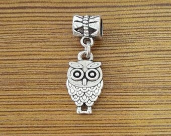 10 Owl Charms Antique Silver Tone - HB/Z002