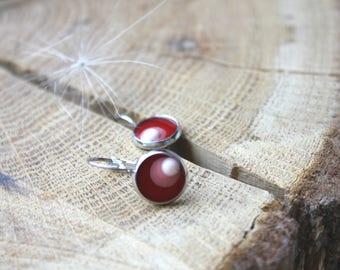 Red resin earrings-CIRCLES