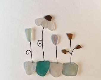 Sea Glass 'Flowers' unframed art