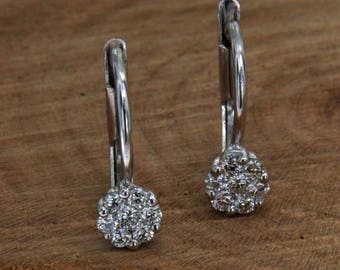 18 kt white gold earrings. and diamonds, pendants with diamonds, Handcrafted Earrings Wheatear in gold and diamonds, Italian jewellery