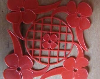 Red plastic, vintage 1950/60s floral placemats, set of 6