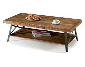 InsideOut Industrial Chic Modern Classic Reclaimed Wood and Metal Coffee Table with Multi Level Functionality