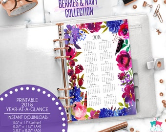 Printable Calendar A5 A4 Letter Watercolor Planners 2018 Year at a Glance   Berries and Navy Floral Collection   BNCYG18