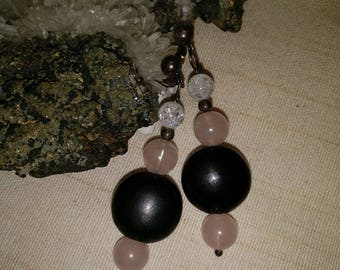 Earrings with rock crystal, Rose quartz and gagat with sterling silver