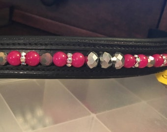 Metallic pink browband bling