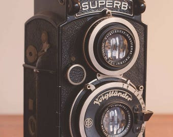 Voigtlander Twin Lens Reflex - Still Life Photography, Color, Old Camera, Antique, Mid Century, Home Decor, Wall Art