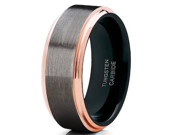 Rose Gold Tungsten Wedding Band Gunmetal Ring Tungsten Carbide Ring Men & Women Black Wedding Band Engagement