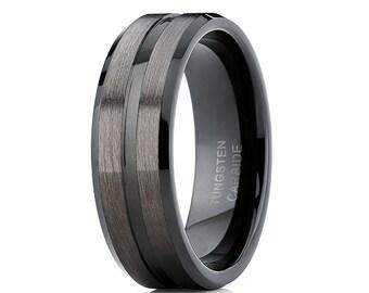 Black Tungsten Wedding Band Gunmetal Tungsten Wedding Ring Men & Women Tungsten Carbide Ring Center Groove Design
