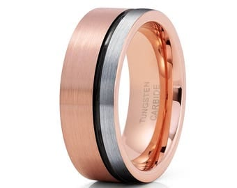 Rose Gold Tungsten Wedding Band Black Tungsten Ring Anniversary Ring Engagement Tungsten Ring Men & Women Grey Tungsten
